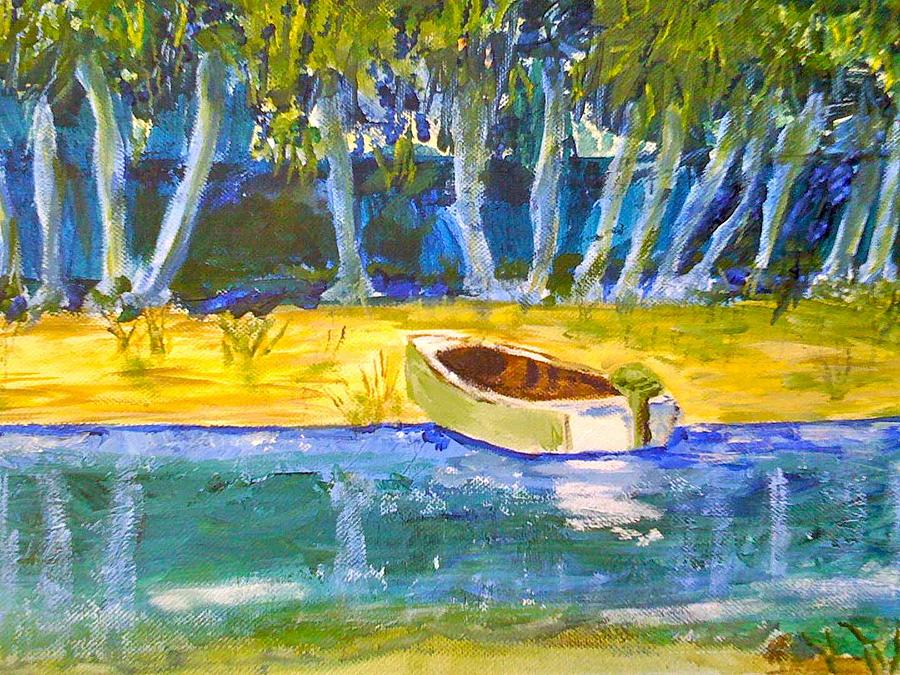 Green Row Boat Painting by Sam Bowling