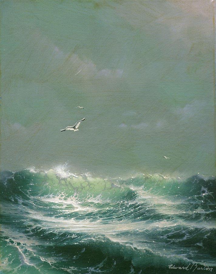 Seascape Painting - Green Sea by Edward Barton