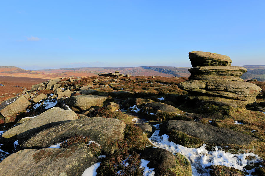 Peak District National Park Photograph - Gritstone Rocks On Hathersage Moor, Derbyshire County by Dave Porter