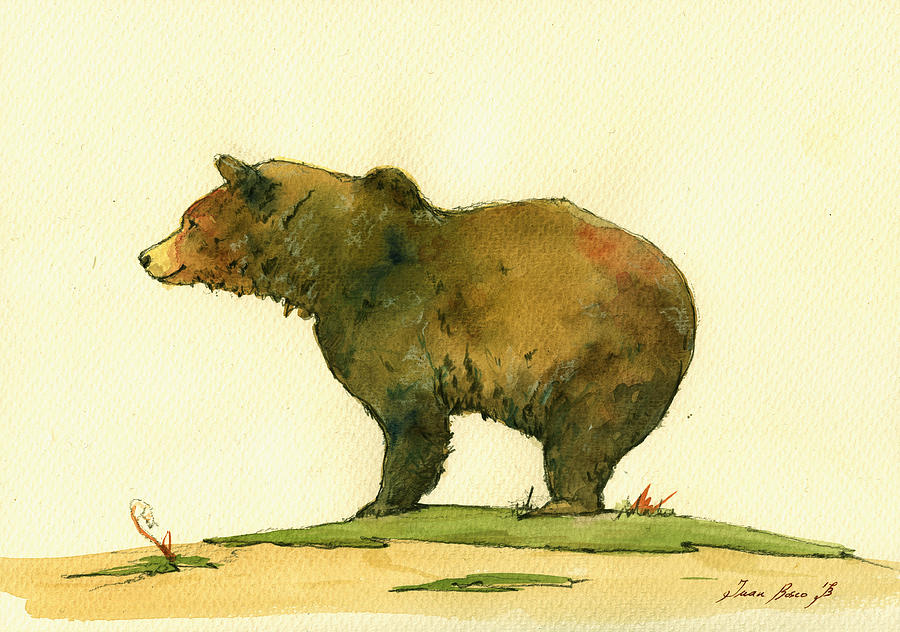 Grizzly Painting - Grizzly bear watercolor painting by Juan  Bosco