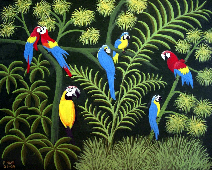 Landscape Paintings Painting - Group Of Macaws by Frederic Kohli