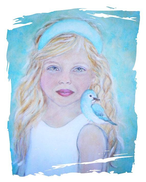 Children Painting - Gwyneth Little Earth Angel Of Happiness by The Art With A Heart By Charlotte Phillips