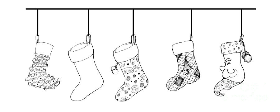 Drawings Of Christmas Stockings.Hand Drawn Of Lovely Christmas Stockings On White Background
