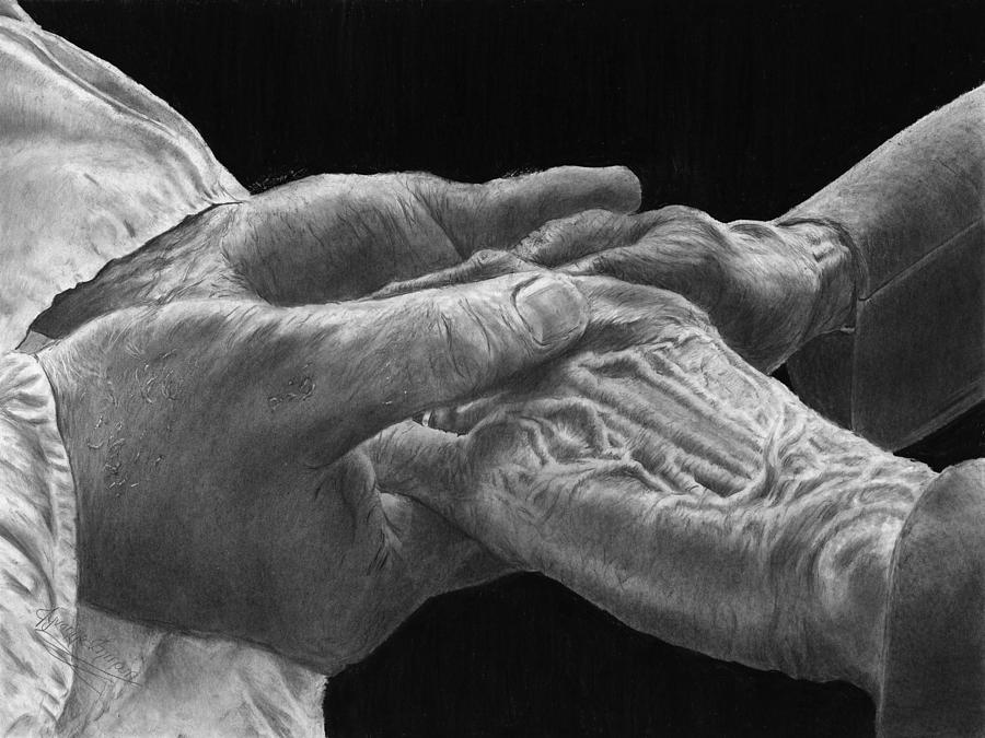 Comfort Drawing - Hands of Love by Jyvonne Inman