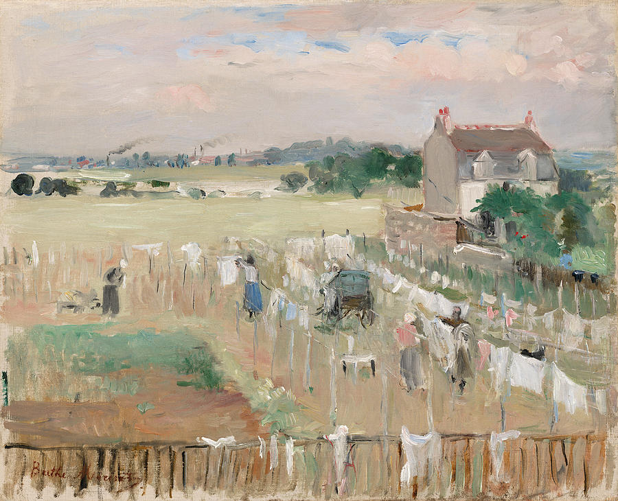French Painter Painting - Hanging The Laundry Out To Dry 4 by Berthe Morisot