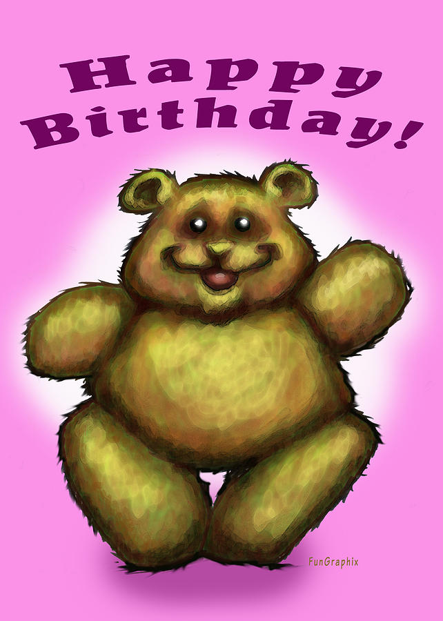 Pink Greeting Card - Happy Birthday Bear by Kevin Middleton