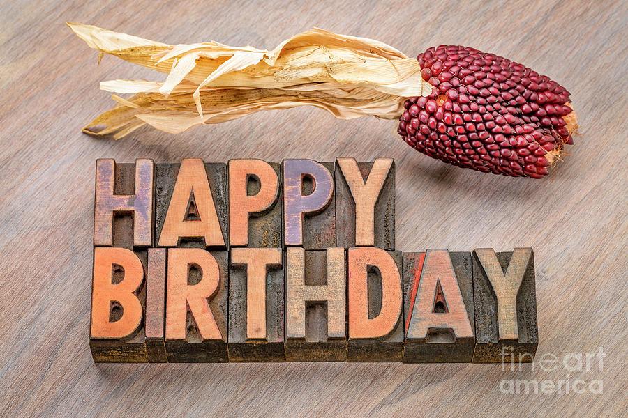 Happy Birthday greetings card in wood type by Marek Uliasz