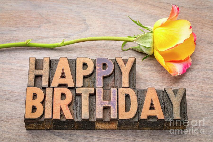 Happy Birthday greetings in wood type by Marek Uliasz