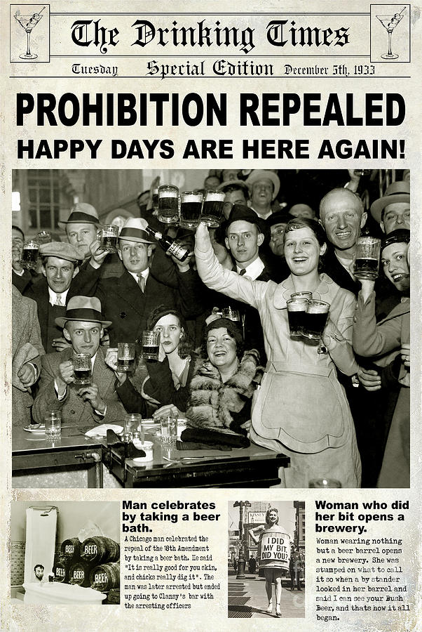 Prohibition Photograph - Happy Days Are Here Again by Jon Neidert