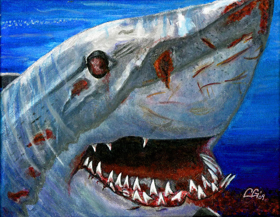 Animals Painting - Happy Shark by BlondeRoots Productions