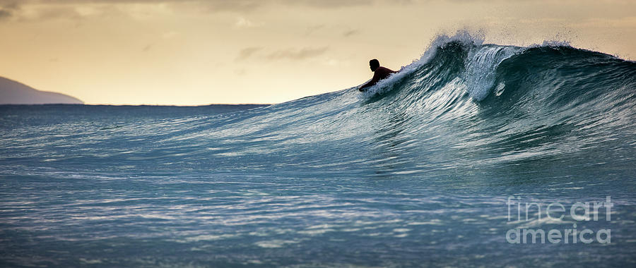 Hawaii Bodysurfing Sunset Polihali Beach Kauai  by Dustin K Ryan