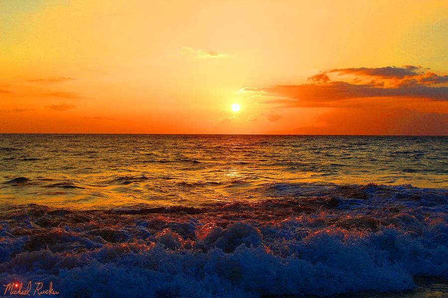 Sunset Photograph - Hawaiian Sunset by Michael Rucker