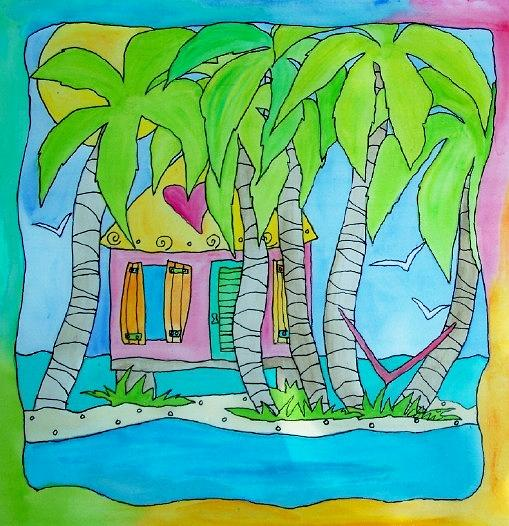 Palms Painting - Heart Cottage by Coni Brown