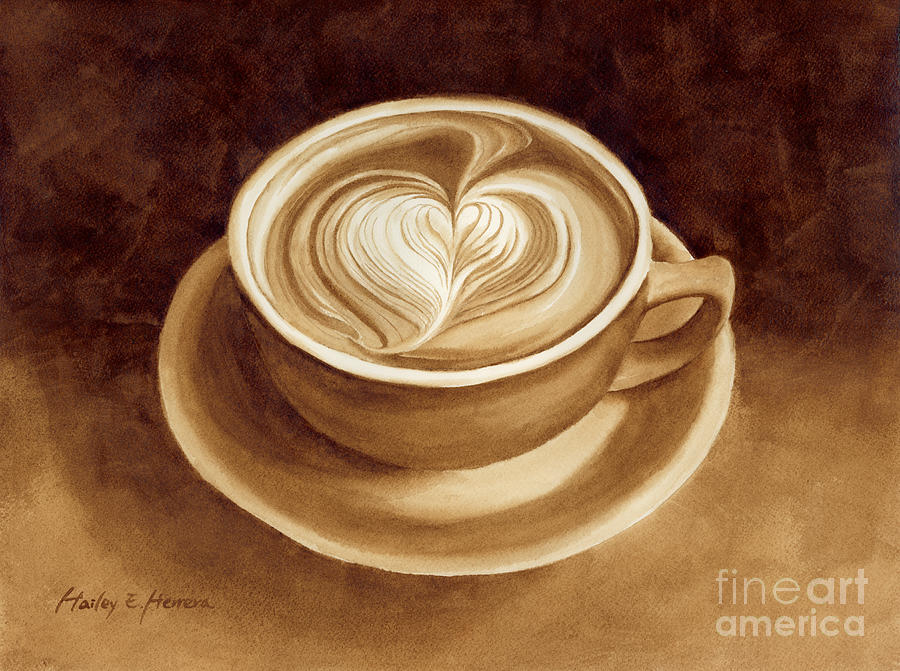 Food Painting - Heart Latte II by Hailey E Herrera
