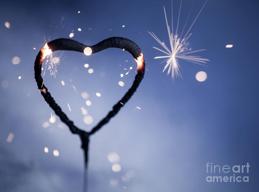 Heart Photograph - Heart Shape Sparkler by Kati Finell
