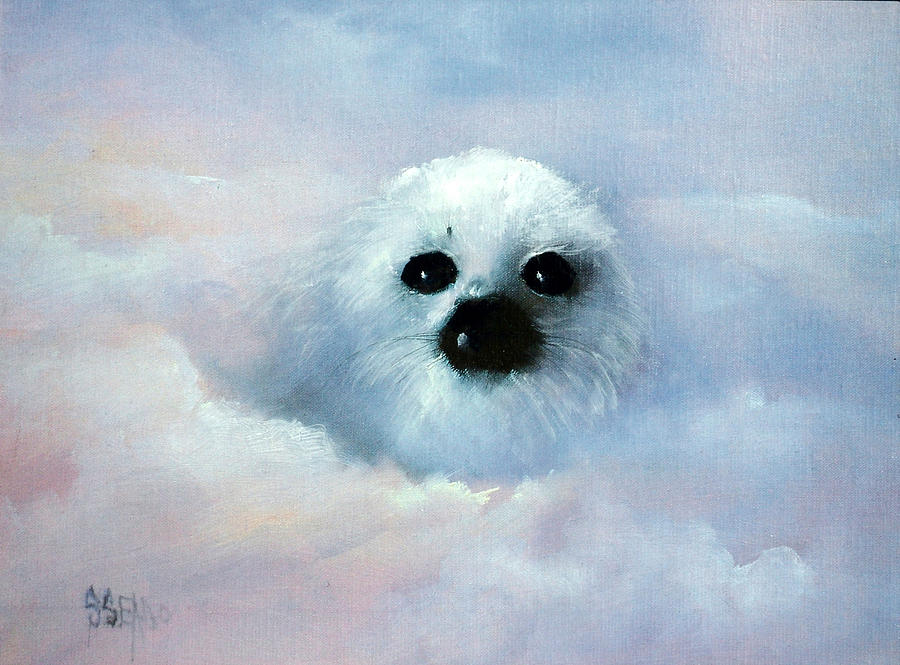 Seals Painting - Heavenly Harp by Sally Seago
