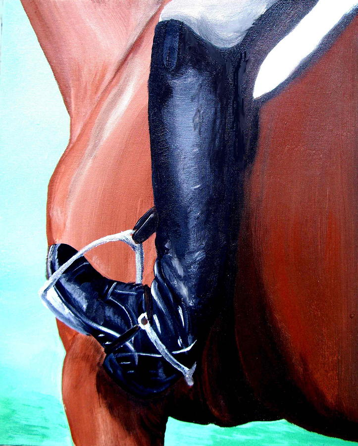 Horse Painting - Heels Down by Glenda Smith