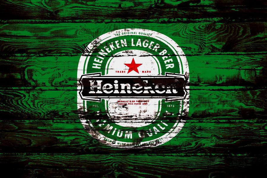 Heineken Mixed Media - Heineken Beer Wood Sign 1e by Brian Reaves