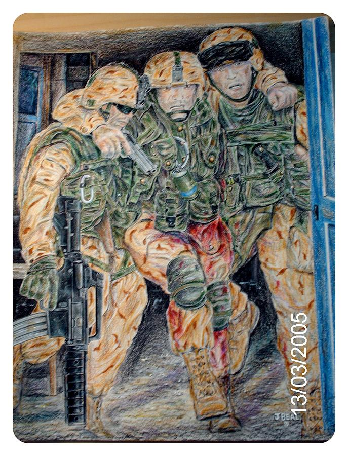 People Drawing - Hell house US Marines in Fallujah by James Beal