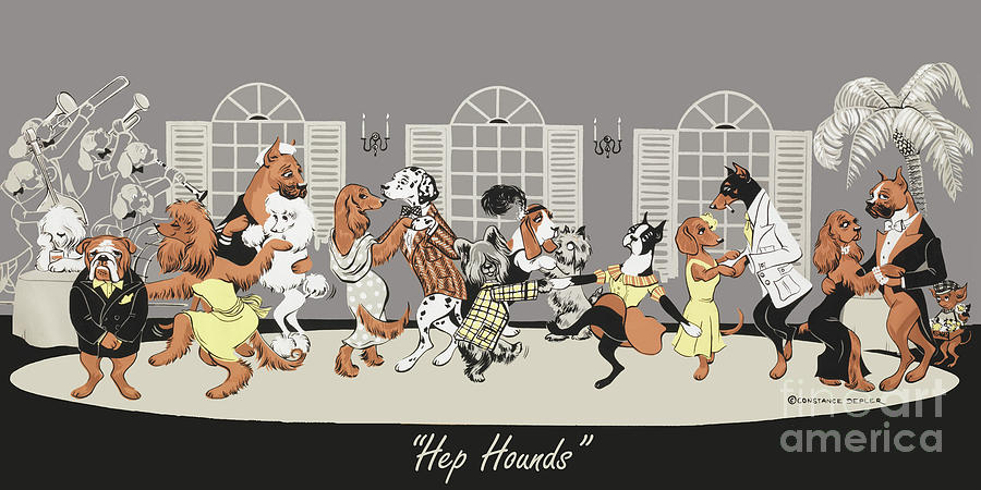 Dogs Painting - Hep hounds by Constance Depler