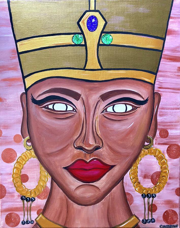Nefertiti Painting - Her Crown Jewels by Art By Naturallic