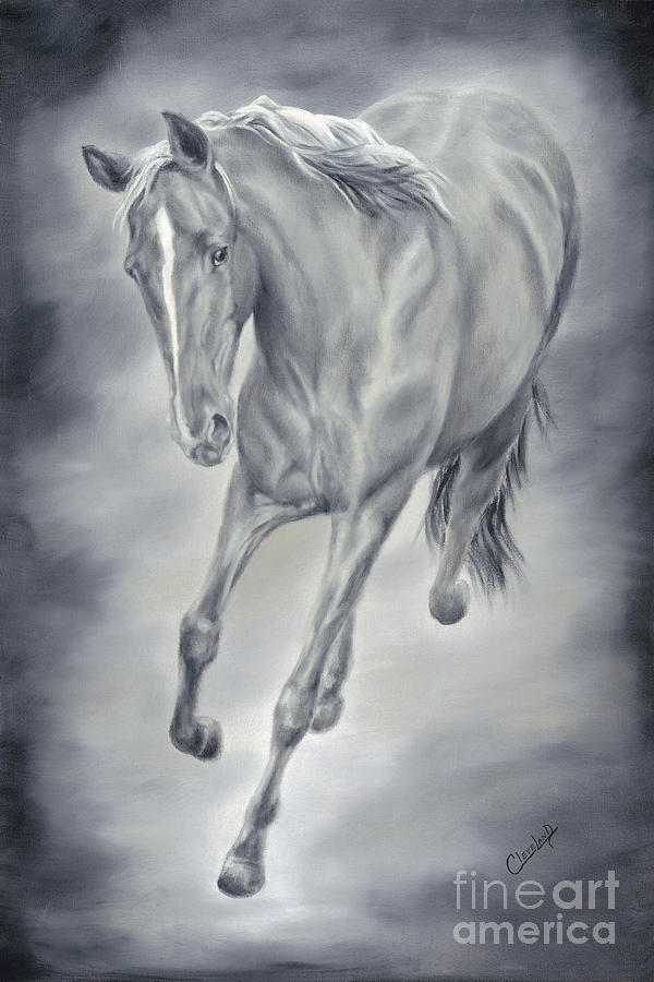 Black Horse Painting - Here She Comes by Cathy Cleveland