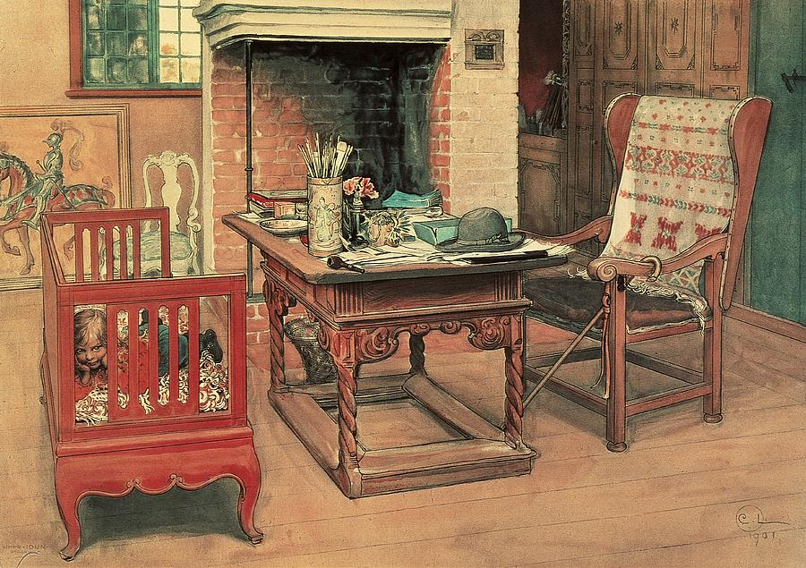 Oil Painting - Hide And Seek by Carl Larsson