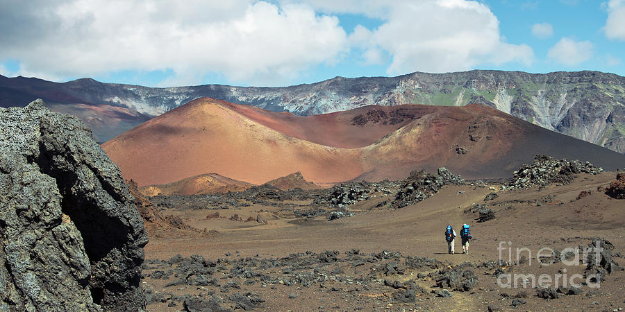 Hikers in the Haleakala Crater by Frank Wicker