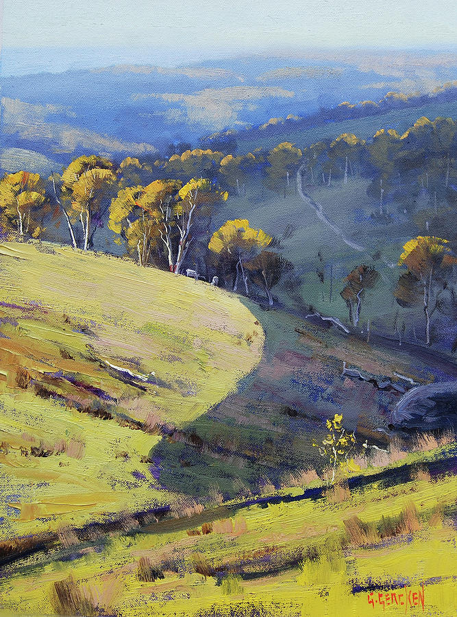 Nature Painting - Hillside Shadows by Graham Gercken