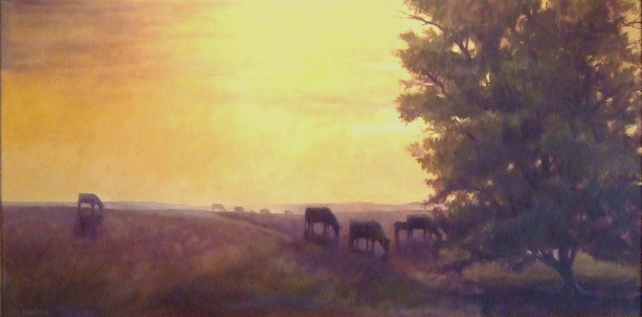 Landscape Painting - Hillside Silhouettes by Ruth Stromswold