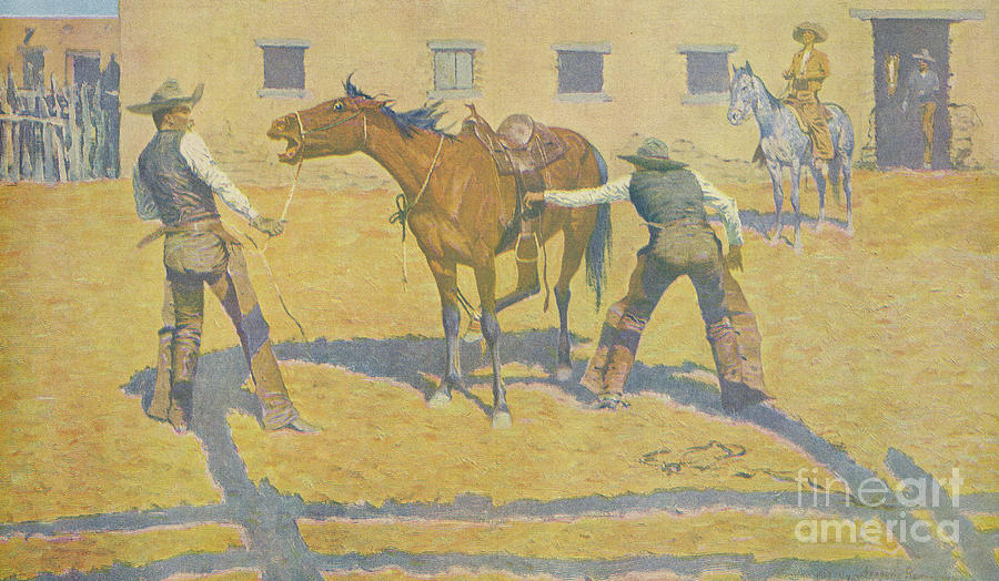 Frederic Remington Painting - His First Lesson by Frederic Remington