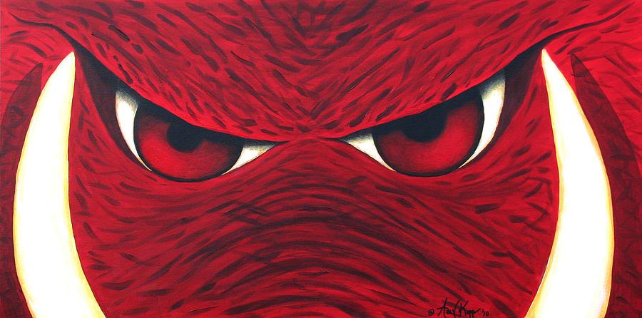 Arkansas Razorback Painting - Hog Eyes 2 by Amy Parker Evans