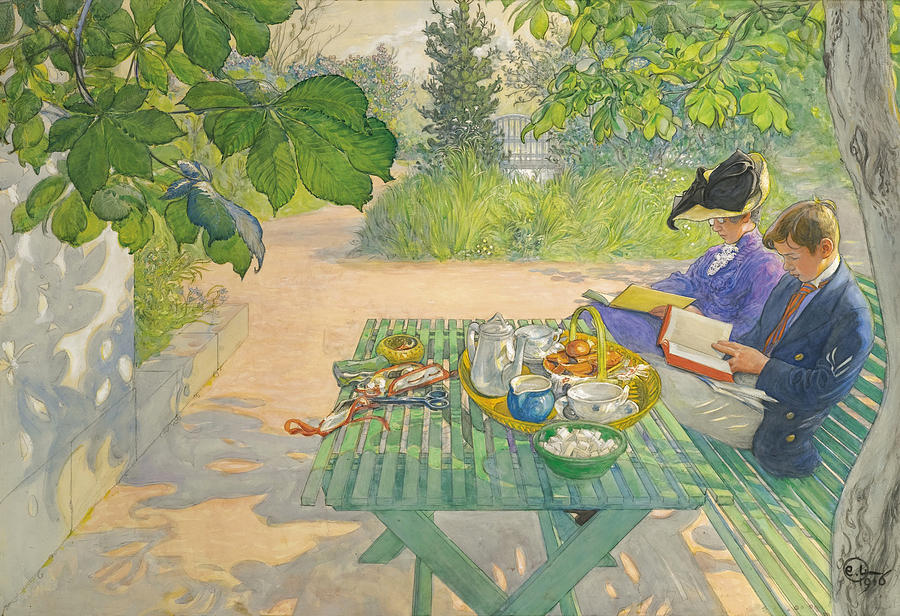 Carl Larsson Drawing - Holiday Reading by Carl Larsson