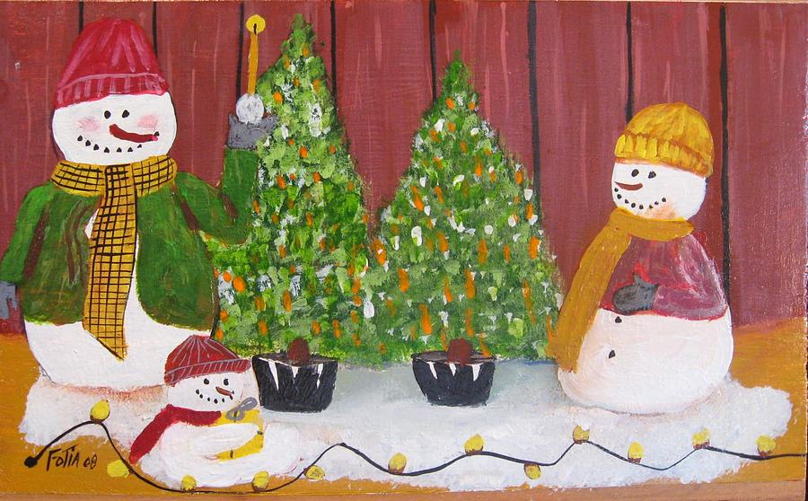 Snowmen Painting - Holiday Snowmen by Rich Fotia
