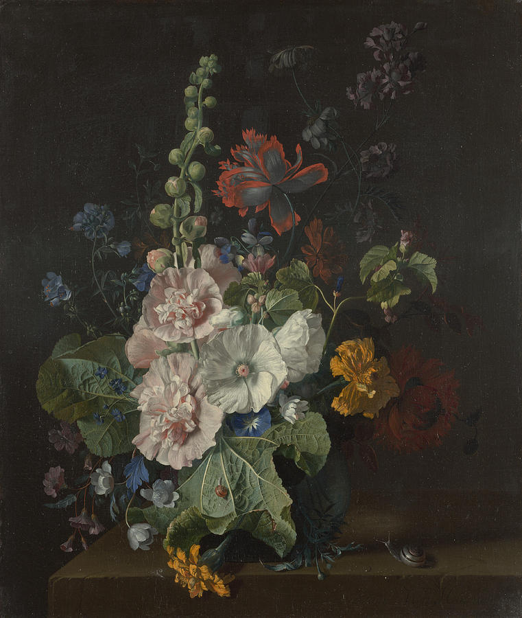 Jan Van Huysum Painting - Hollyhocks And Other Flowers In A Vase by Celestial Images