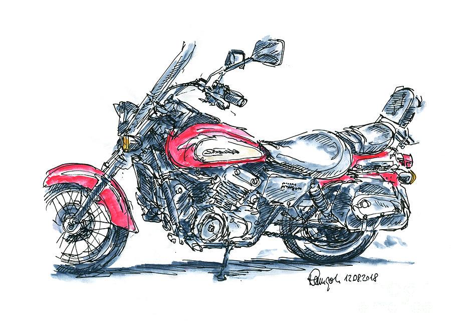 Motorbike Drawing - Honda VT 125 Shadow Motorcycle Ink Drawing and Watercolor by Frank Ramspott