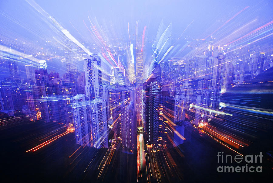 Architecture Photograph - Hong Kong Lights by Ray Laskowitz - Printscapes