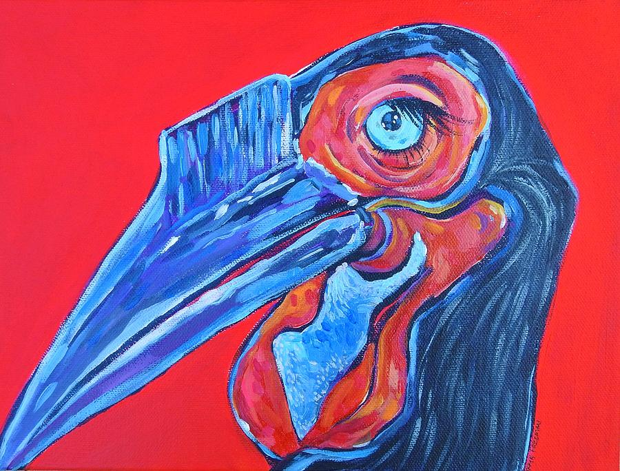 Red Painting - Hornbill by Arrin Burgand