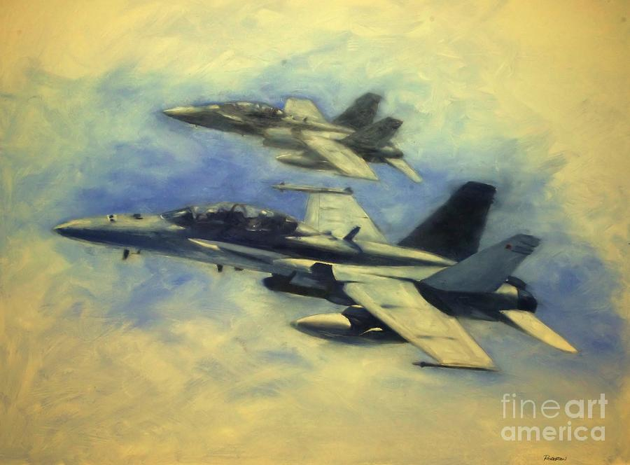 F-18 Painting - Hornets by Stephen Roberson