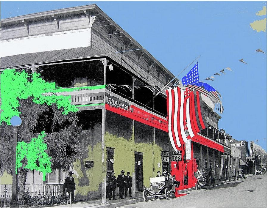 Hotel Orndorff Colored American Flags Tucson Arizona Circa 1915-2012 Photograph