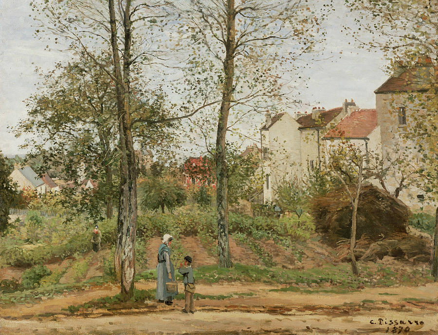 Camille Pissarro Painting - Houses At Bougival  by Camille Pissarro