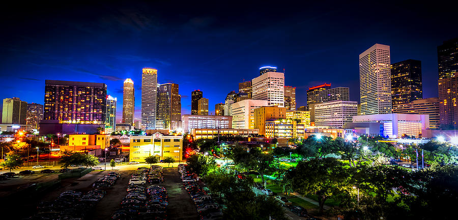 Elegant Texas Photograph   Houston City Lights By David Morefield Images