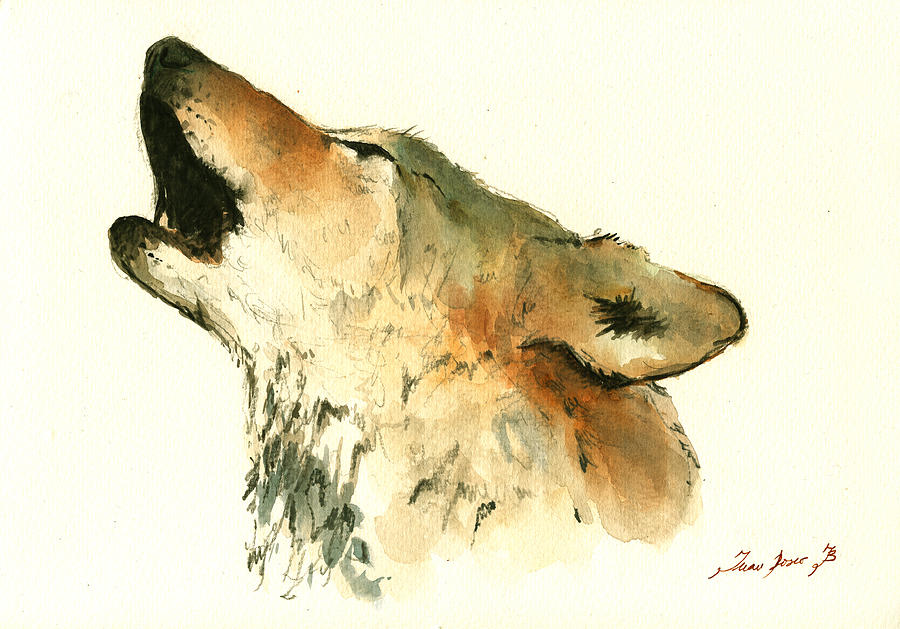 Wolf Painting - Howling Wolf 1 by Juan  Bosco
