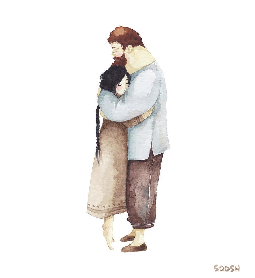 Bysoosh Painting - Hug me by Soosh