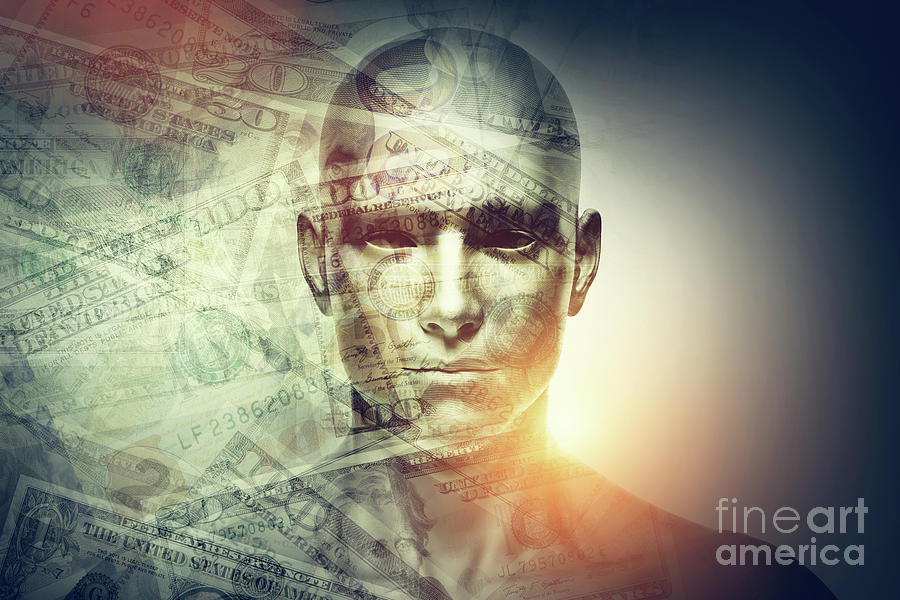 Human Man Face And Dollars Double Exposure. Photograph