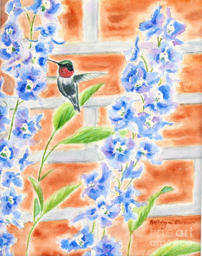 Ruby Throated Hummingbird Painting - Hummer And Delphiniums by Kathryn Duncan