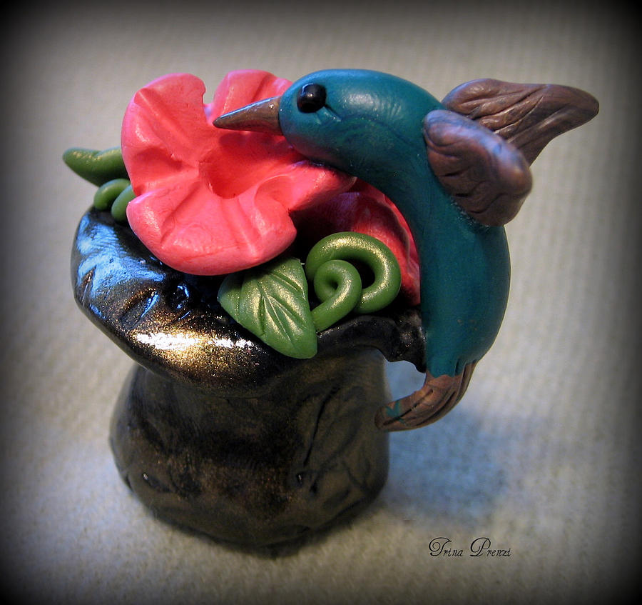 Polymer Clay Sculpture Sculpture - Humming Bird And Flower by Trina Prenzi
