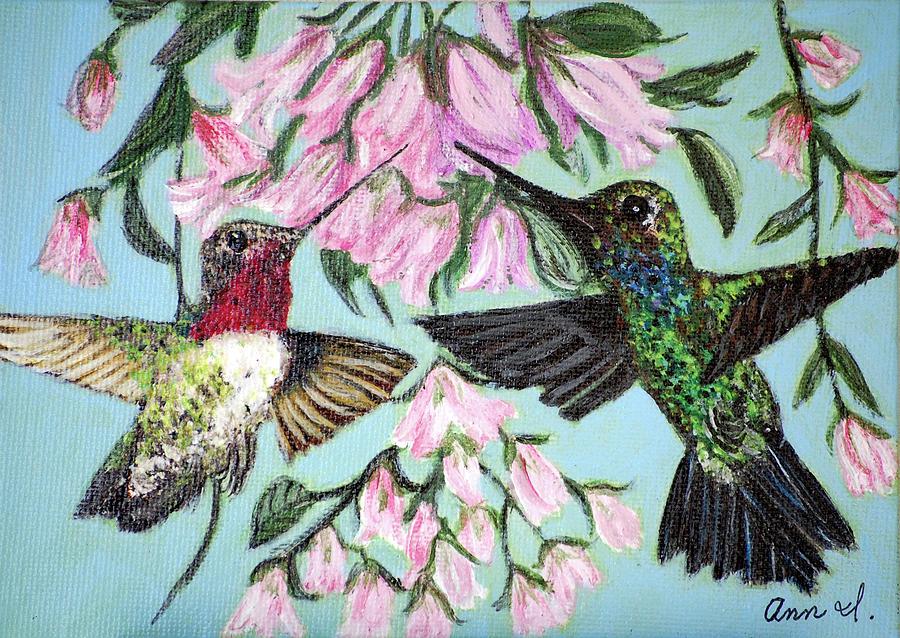 Birds Painting - Hummingbirds by Ann Ingham