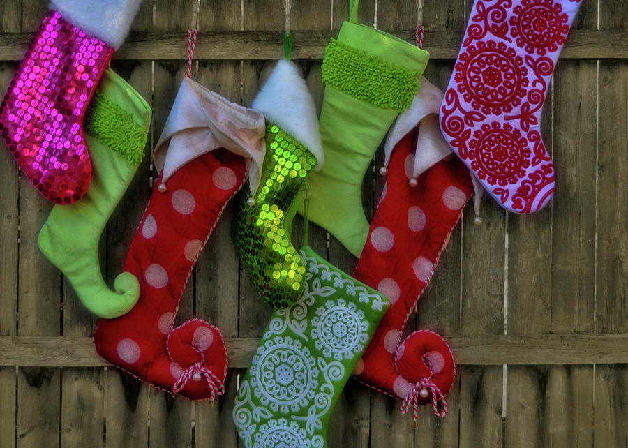 Fence Photograph - Stockings Hung With Care by JAMART Photography