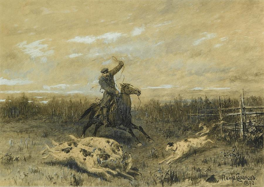 Hunting With Borzoi Painting by Pyotr Petrovich